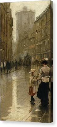The Young Flower Vendor Canvas Print by Paul Fischer