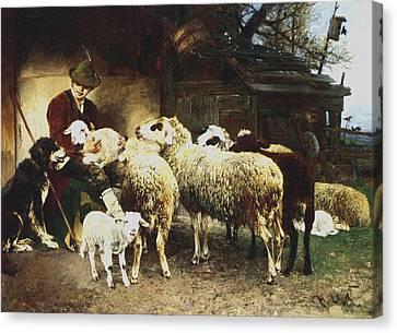 The Young Shepherd Canvas Print by Heirich von Zugel