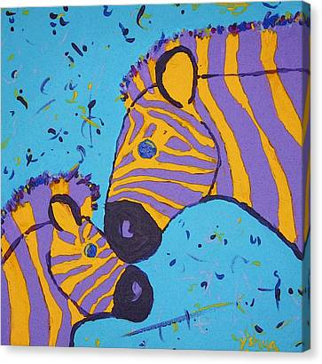 The Zebra Nuzzle Canvas Print by Yshua The Painter
