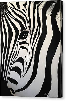Canvas Print featuring the painting The Zebra With One Eye by Alan Lakin