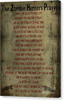 The Zombie Hunter's Prayer Canvas Print by Cinema Photography