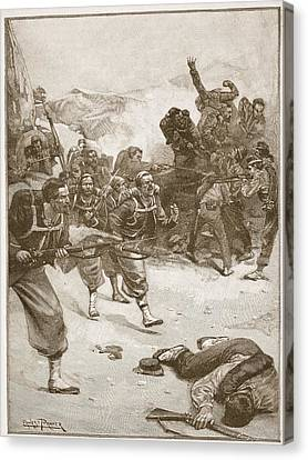The Zouaves Took One Of The Barricades Canvas Print by Ernest Prater
