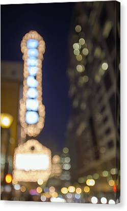 Theater Marquee Lights On Broadway Bokeh Background Canvas Print