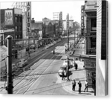 Theater Row - Vancouver Canada - 1951 Canvas Print by Daniel Hagerman