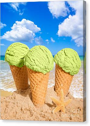Thee Minty Icecreams Canvas Print by Amanda Elwell