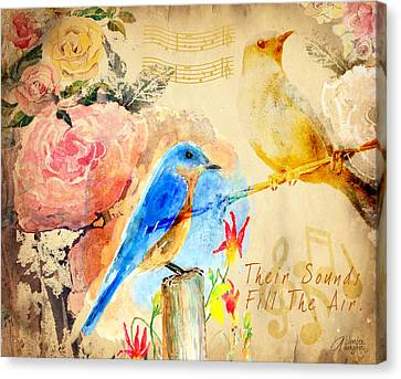 Canvas Print featuring the mixed media Their Sounds Fill The Air by Arline Wagner