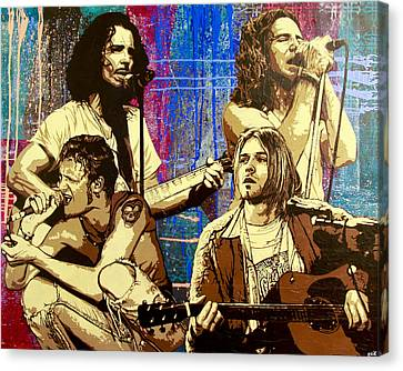 Pearl Jam Canvas Print - Them Bones Are Louder Than Love In A Corduroy Heart-shaped Box by Bobby Zeik