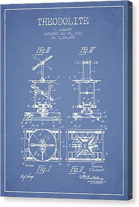 Theodolite Patent From 1921- Light Blue Canvas Print by Aged Pixel