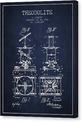 Theodolite Patent From 1921- Navy Blue Canvas Print by Aged Pixel