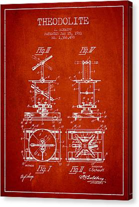 Theodolite Patent From 1921- Red Canvas Print by Aged Pixel