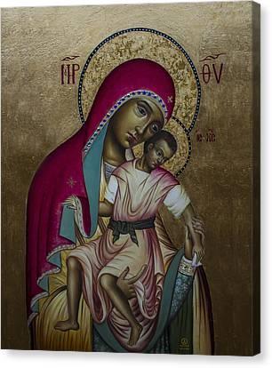 Theotokos - Eleusa Umilenie Canvas Print by Aleksandar Tesanovic