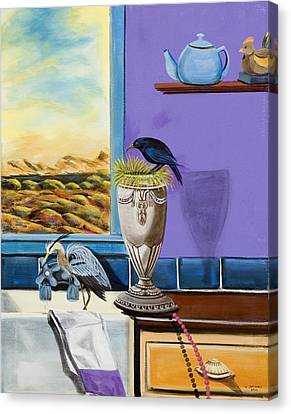 Canvas Print featuring the painting There Are Birds In The Kitchen Sink by Susan Culver