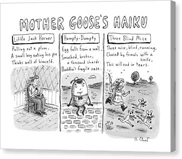 There Are Three Panels With Three Haikus Canvas Print by Roz Chast