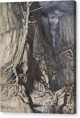 There Is A Dread Dragon He Sojourns Canvas Print by Arthur Rackham