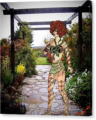 There's A Nymph In The Garden Canvas Print by Nancy Pauling