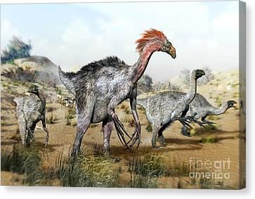 Therizinosaurus Dinosuars Canvas Print by Jos� Antonio Pe�as