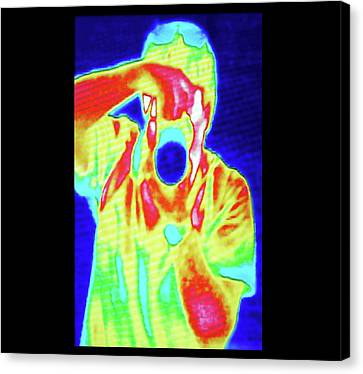 Thermal Camera Self Portrait Canvas Print by Zephyr