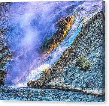 Thermal Geyser Runs Into Yellowstone River Canvas Print by Bob and Nadine Johnston