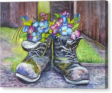 These Boots Were Made For Planting Canvas Print by Carol Wisniewski