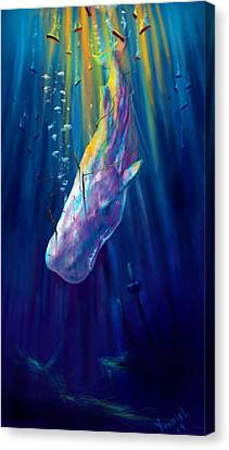 Thew White Whale Canvas Print by Yusniel Santos