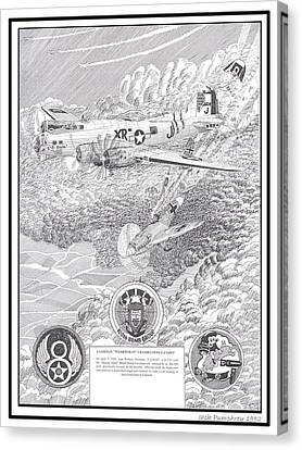 Ww Ii Canvas Print - They All Lived Crash Of Boeing B 17 And Me 109 by Jack Pumphrey