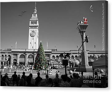 They Dont Do Christmas In San Francisco The Way We Do It In Kansas Betsy Jane Dsc1745 Bw Canvas Print by Wingsdomain Art and Photography