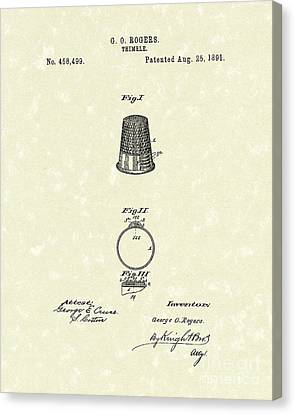 Thimble 1891 Patent Art Canvas Print by Prior Art Design