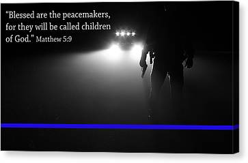 Police Canvas Print - Thin Blue Line by Jerry Mann