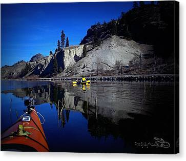 Thin Ice Kayaking Skaha Lake Canvas Print by Guy Hoffman
