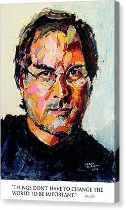 Ipod Canvas Print - Things Don't Have To Change The World To Be Important Steve Jobs by Derek Russell