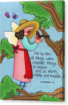 Bible Verse Canvas Print - Things Visible And Invisible by Sarah Batalka