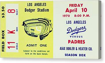 Dodger Stadium Canvas Print - Think Blue 1970 by Benjamin Yeager