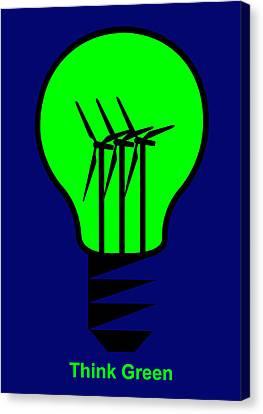 Think Green Canvas Print by Asbjorn Lonvig