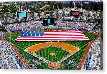Dodger Stadium Canvas Print - Think Red White And Blue by Benjamin Yeager