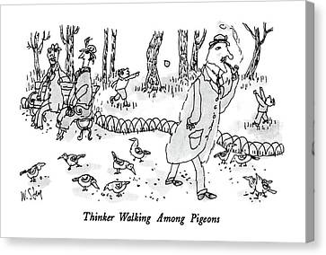 Thinker Walking Among Pigeons Canvas Print by William Steig