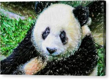 Thinking Of David Panda Canvas Print by Lanjee Chee