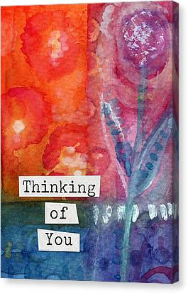 Thinking Of You Art Card Canvas Print by Linda Woods
