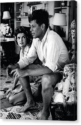 John F. Kennedy And Jackie Onassis Canvas Print