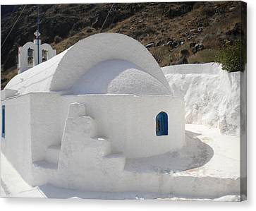 Canvas Print featuring the photograph Thirasia Church Santorini Greece by Colette V Hera  Guggenheim