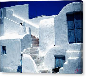 Colette Canvas Print - Thirasia Island Ancient House Near Santorini Greece by Colette V Hera  Guggenheim