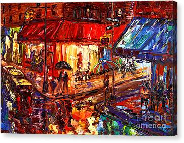Third And Mcdougal In The Rain Canvas Print by Arthur  Robins
