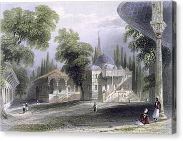 Third Court Of The Serai Bournou, C.1850 Canvas Print by William Henry Bartlett