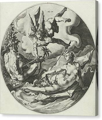 Third Day Of Creation Separation Of Land And Water Canvas Print by Jan Harmensz. Muller And Hendrick Goltzius And Hendrick Goltzius