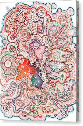 Doodle Art Canvas Print - Thirty Thousand Dots Dashes And Circles by Alison Hamil