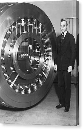 Thirty Ton Bank Vault Door Canvas Print by Underwood Archives