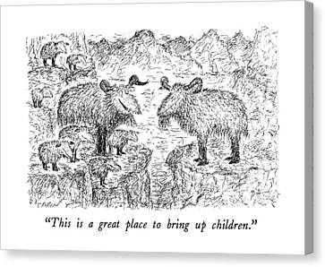 Goat Canvas Print - This Is A Great Place To Bring Up Children by Edward Koren