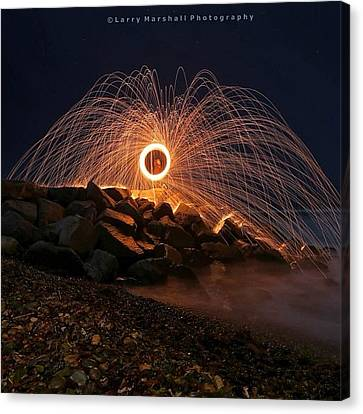 This Is A Shot Of Me Spinning Burning Canvas Print by Larry Marshall