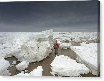 This Is How Thick Ice In Wellfleet Cape Cod Canvas Print by Dapixara