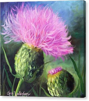 Canvas Print featuring the painting Thistle by Cheri Wollenberg