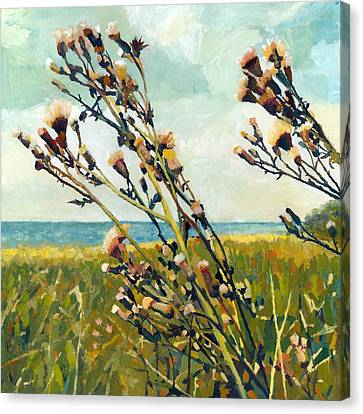 Thistles On The Beach - Oil Canvas Print by Michelle Calkins